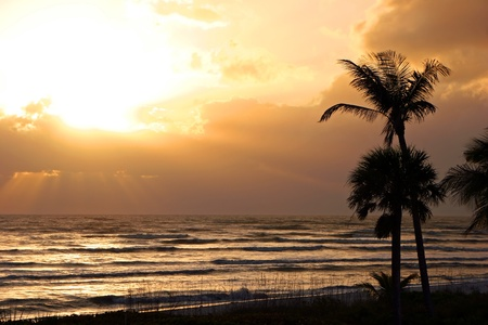florida beach: a beautiful sunset on Sanibel Island Florida Stock Photo
