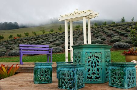 arbor: Beautiful Gardens Alii Kula Lavender Farm Maui Hawaii Stock Photo