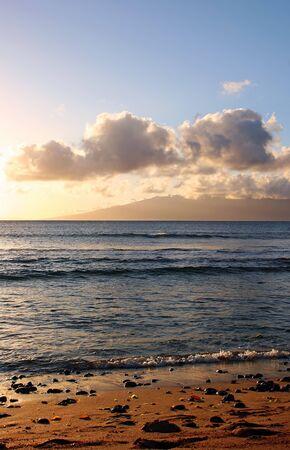 breaking wave: Beautiful Tropical Dusk Shoreline Maui Hawaii Island