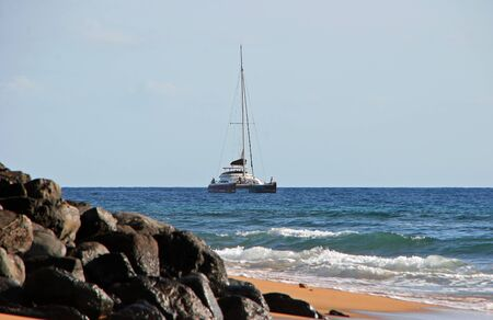 Tropical Landscape Boat on Ocean Maui Hawaii photo