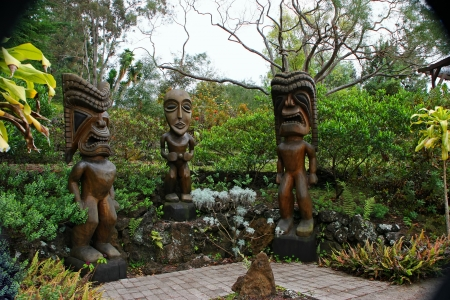 hawaiian tiki: Tiki Wood Carving in the Beautiful Kula Botanical Garden Kula Maui Hawaii