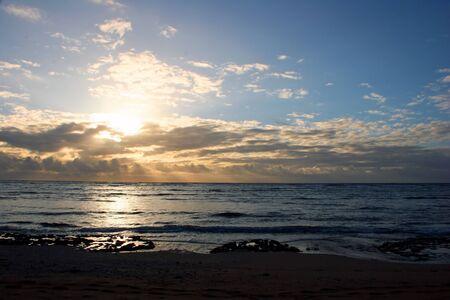 Beautiful Ocean Sunrise on Kauai Island Hawaii photo