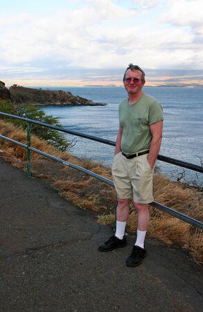 lookout: Man Tourist  Stock Photo