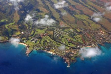 Aerial View Beautiful Shoreline Pacific Hawaiian Island photo