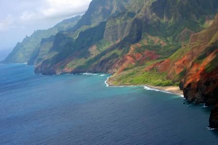空撮美しい海岸線カウアイ島ハワイ島 写真素材