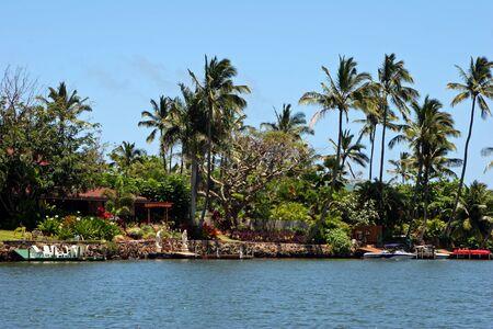 vacation home: Beautiful Waterfront Home on Wailua River Kauai Hawaii Stock Photo