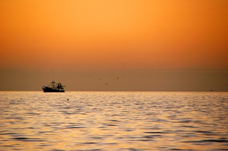 dawning: Boat on Ocean at Sunrise on Sanibel Florida Stock Photo