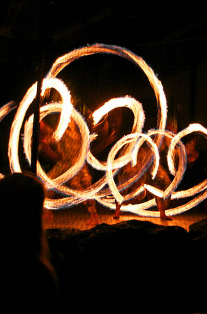 KAUAI, HI - APRIL 30:  Fire Poi Ball Twirlers Luau Kalamaku At Historic KiloHana Plantation Show 2010