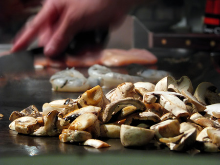 griddle: Teppanyaki Japanese Cuisine Cooked on a Flat Iron Grill Stock Photo