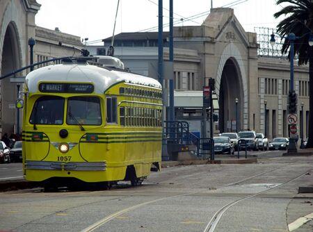 municipal editorial: SAN FRANCISCO, CA - NOVEMBER 18: Yellow SFMTA MUNI Bus 2012