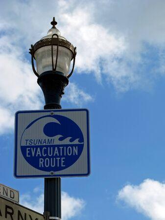 tsunami: Tsunami Evacuation Route Sign San Francisco California