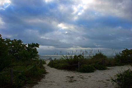 Roped Pole Fence Pathway Leading to Beach Sanibel Florida