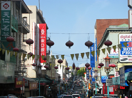 enclave: SAN FRANCISCO CA  NOVEMBER 18:  The oldest Chinatown in North America 2012