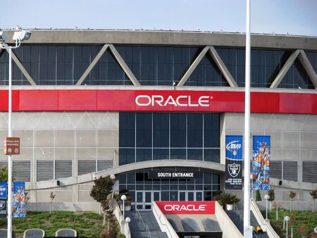 oracle: OAKLAND CA  NOVEMBER 18: Exterior View Oracle Arena at Oakland Raiders Football Game 2012