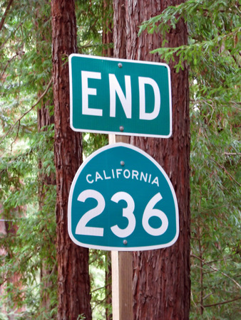 postmaster: End of California State Route 236 Road Sign Stock Photo