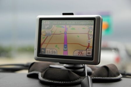 car navigation: GPS Car Navigation System on Car Dashboard