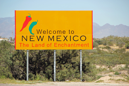 enchantment: NEW MEXICO, USA - SEPTEMBER 30: Welcome to New Mexico state sign, The Land of Enchantment  2013 Editorial