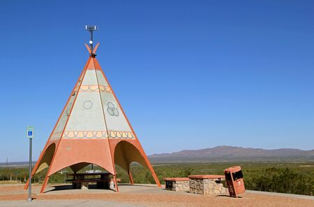 teepee: Texas Roadside Rest Area Picnic Tables with a Decorative TeePee Shelter