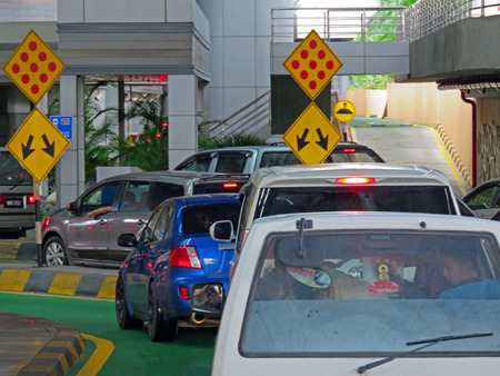 checkpoint: JOHOR MALAYSIA  - NOVEMBER 11: The Malaysia Immigrations and Customs checkpoint at Sultan Abu Bakar CIQ Complex Tuas Second Link, as seen from Johor, Malaysia November 11, 2014  in Johor, Malaysia