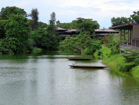 amazonian: SINGAPORE ASIA - NOVEMBER 14: Wild Amazonian Calming Lake Scene at The RIVER SAFARI; a river-themed zoo and aquarium November 14, 2014 in Singapore, Asia