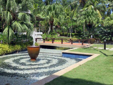 tropical garden: Fountain Pool in a Lush Garden of Malaysia