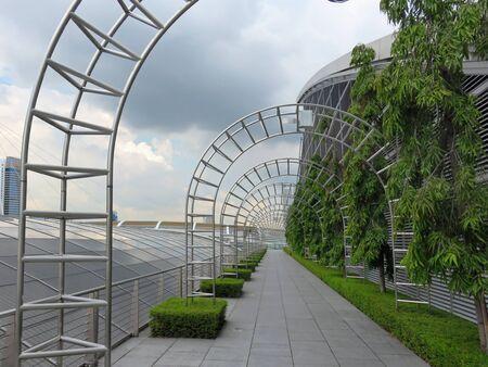SINGAPORE ASIA -  NOVEMBER 22:  Pedestrian Walkway Gardens by the Bay nature park November 22, 2014 in Singapore Bay Marina, Asia