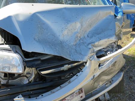 evans: EVANS, GA - APRIL 4: damaged car in impound lot after an head on collision 2017