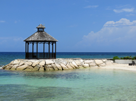 Beautiful and relaxing ocean view of gazebo in Montego Bay Jamaica