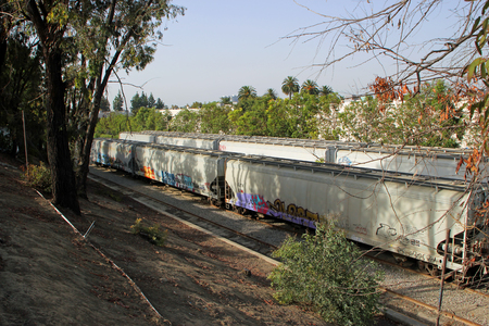 PALM SPRINGS, CA - OCTOBER 04: Beautiful Grafitti covered Freight Train in California October 4, 2013 in Palms Springs, California