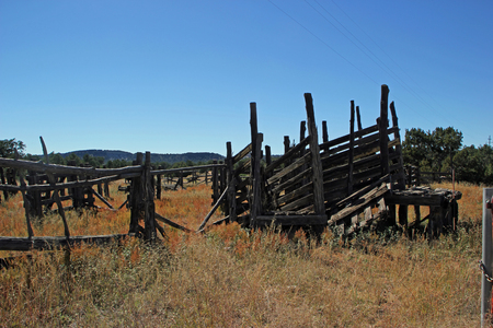 An Old Abandoned Corral in New Mexico USA Stock Photo