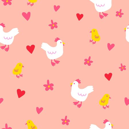 Seamless chicken chick vector pattern. Cute farm animal pattern with heart and flower for wallpaper textile fabric designs. Orange vector illustrations in hand drawn style.