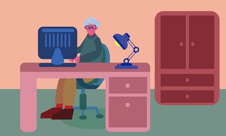 Old man working at home office on computer. Working at a desk with lamp. Graphic vector illustration with bold colors.