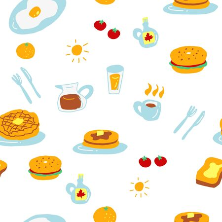 Cute breakfast seamless pattern design with waffle pancake bagel coffee oranges. Food hand drawn colorful design. Vibrant and cute vector design for textile wallpaper fabric decor. Ilustracja