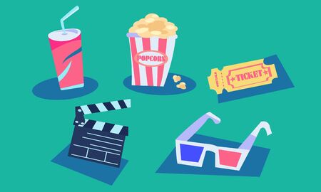 Movie theater vector set. Popcorn soda ticket glasses and clapperboard. Graphic flat geometric simple. Ilustração