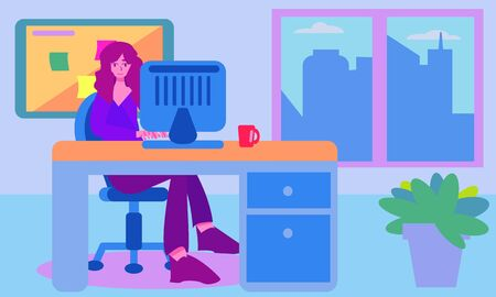 Woman working in office with a city view from window. Desk with computer plant and board. Simple graphic flat cartoon colorful vector set.