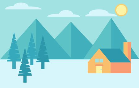 Camping in the mountains and forest. Cabin in the woods outdoor activity. Vector colorful landscape.