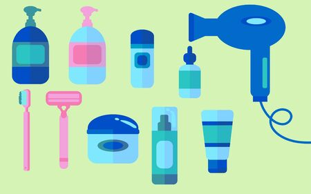 Toiletry item vector set. Graphic colorful icons of beauty products and packaging.