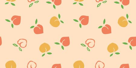Seamless peaches fruit vector pattern with polka dots. Hand drawn orange and pink fruit art for wallpaper textile fabric designs. Cute vector illustrations in cartoon style. 向量圖像
