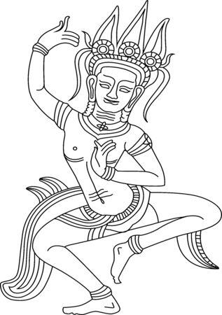 apsara: Khmer Dancing Apsara in Siem Reap province of Cambodia,