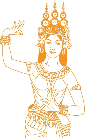 apsara: Golden Apsara, a Khmer Apsara of Angkor Wat temple in Siem Reap province, Cambodia. It�s the world