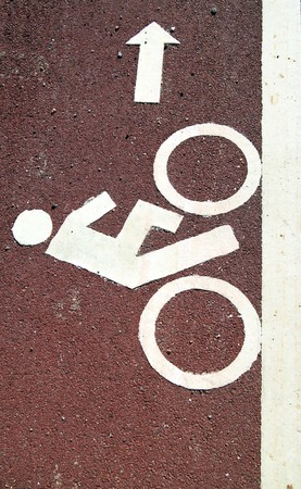 bicycle road sign red color background Stock Photo - 8133026