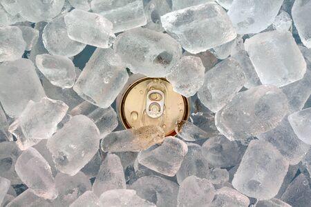 closeup can in ice