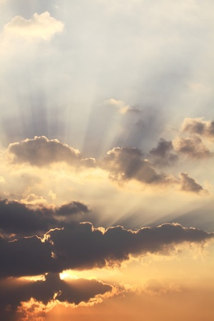 sunbeams and clouds  Stock Photo