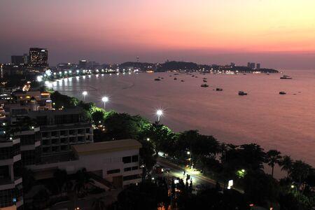 night scene at Pattaya city , Thailand photo