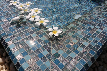 flowers floating in swimming pool  photo