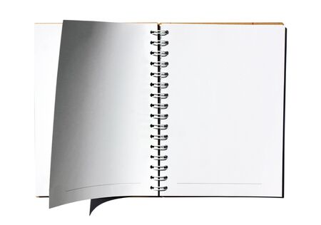 blank note book on white background
