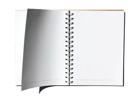 note book: Libro bianco nota su sfondo bianco  Archivio Fotografico