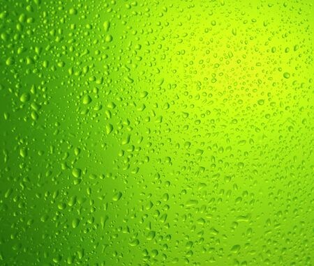 green water drops on glass  Stock Photo