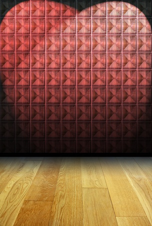 red glass block wall and wood floor  photo