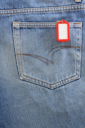 Blue jeans pocket with blank badge  Stock Photo - 8941610